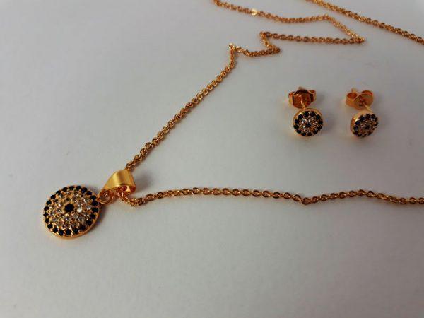 نیم ست طرح جواهر طلایی چشم زخم ظریف
