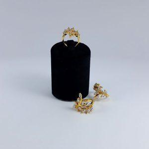انگشتر تیتانیوم شاخه زیتون طلایی