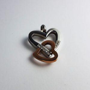 مدال استیل دو رنگ رزگلد قلب