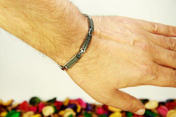 دستبند استیل دو رنگ مشکی- سیلور