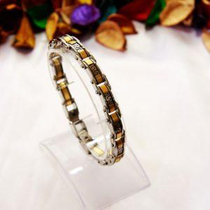 دستبند استیل دو رنگ گلد-سیلور