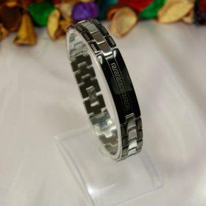 دستبند استیل مشکی- سیلور