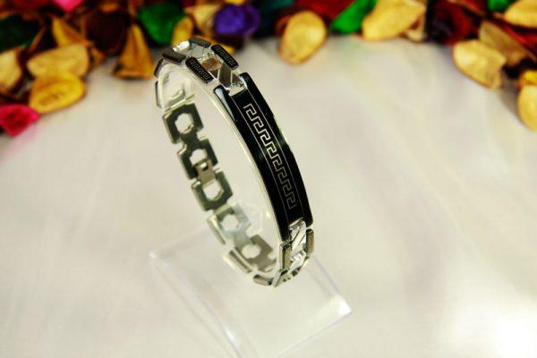 دستبند استیل مشکی-سیلور